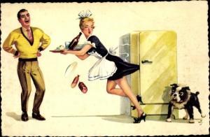 Künstler Ak Dienstmädchen, Rock hängt im Kühlschrank fest, lachender Mann, Hund