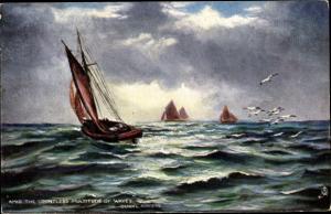Künstler Ak Amid the countless multitude of waves, Segelboote, The Flowing Tide, Tuck 6238