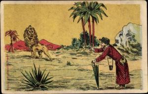 Künstler Ak Alte Dame zielt mit einer Pistole auf einen Löwen, Palmen