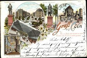 Litho Köln am Rhein, Hohenzollernring, Bismarck und Moltke Denkmal, St. Ursula, Hauptbahnhof