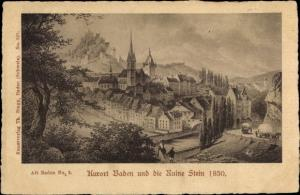 Ak Baden Aargau Schweiz, Kurort und die Ruine Stein