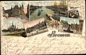 Ak Hansestadt Bremen, Gerichtsgebäude, Freihafen, Markt, Bahnhof, Parkhaus