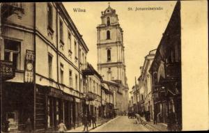 Ak Vilnius Wilna Litauen, St. Johannisstraße, Kirchturm, Geschäft