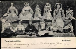 Ak Poppententoonstelling, Amsterdam, Puppen in niederländischer Tracht