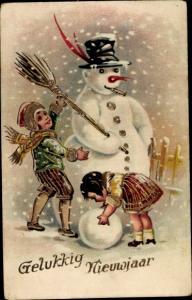 Präge Litho Glückwunsch Neujahr, Kinder bauen einen Schneemann