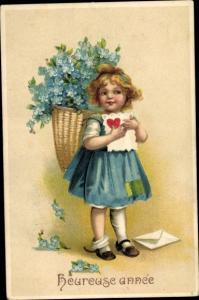 Präge Ak Glückwunsch Neujahr, Mädchen mit Blumen, Vergissmeinnicht