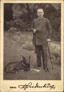 Ak Reichspräsident Paul von Hindenburg, Ansprache an das deutsche Volk Ostern 1925, Schäferhund
