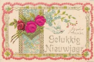 Präge Stoff Ak Glückwunsch Neujahr, Rosen, Vergissmeinnicht, Taube