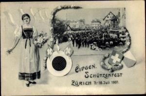 Wappen Ak Zürich Stadt Schweiz, Eidgenössisches Schützenfest 7.-18.7.1907