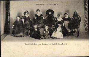 Ak Tentoonstelling van Poppen en Antiek Speelgoed, Amsterdam 1903, Puppen in niederländischer Tracht