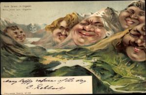 Litho Gute Saison im Engadin, Berggesichter
