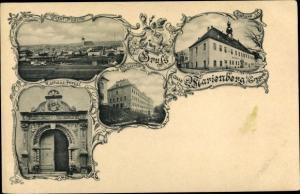 Ak Marienberg im Erzgebirge Sachsen, Rathaus Portal, Totalansicht von Ort, Kaserne