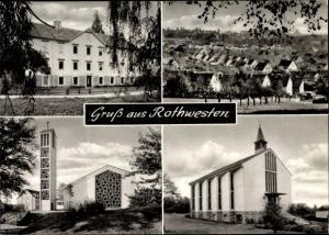 Ak Rothwesten Fuldatal Hessen, Panorama vom Ort, Kirchen, Panorama vom Ort