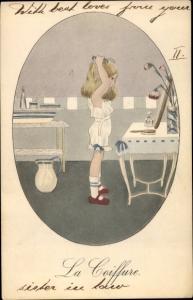Künstler Ak La Coiffure, Mädchen kämmt sich die Haare, Schminkspiegel, Novitas 932