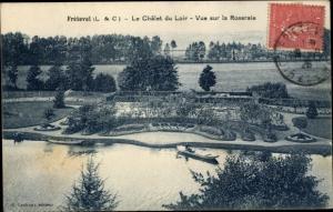 Ak Fréteval Loir et Cher, Le Chalet du Loir, Vue sur la Roseraie