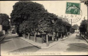 Ak Corbeil Essonne, La Rue du General Lucotte et l'Avenue Darblay