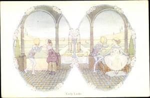 Künstler Ak Willebeek Le Mair, H., Curly Locks, Old Nursery Rhymes, Junge, Mädchen