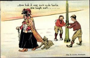 Litho Dan heb ik nog zoon oude tante, Jungen, Hund hält Mantel von alter Frau fest