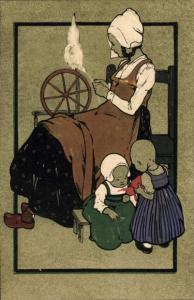 Litho Frau am Spinnrad, Kinder, Munk 139