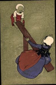 Litho Weinendes Kleinkind und Mädchen auf einer Wippe, Munk 139