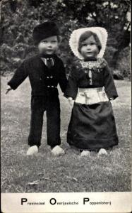 Ak Provinciaal Overijselsche Poppenloterij, Puppen in niederländischer Tracht