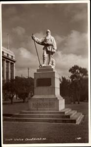 Foto Ak Christchurch Neuseeland, Scott Statue