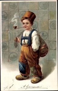 Präge Litho Kleiner Junge Pfeife rauchend, Pantoffeln, Fischnetz