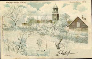 Halt gegen das Licht Litho Winter und Sommer, Kirche