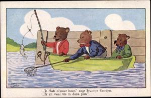 Künstler Ak Neils, Tim, Angelnde Bären in einem Ruderboot, vermenschlichte Tiere