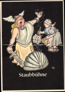 Künstler Ak Moritz, H., Staubbühne, Lustige Gezähekiste, bergmännische Begriffe, Putzfrau