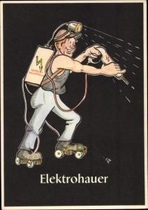 Künstler Ak Moritz, H., Elektrohauer, Lustige Gezähekiste, bergmännische Begriffe,Bergbau,Rollschuhe