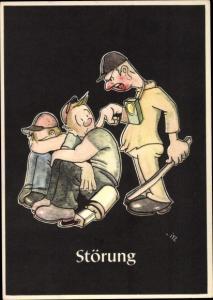 Künstler Ak Moritz, H., Störung, Lustige Gezähekiste, bergmännische Begriffe, Bergbau