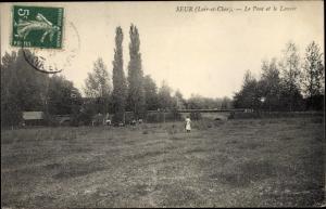 Ak Seur Loir-et-Cher, Le Pont et le Lavoir