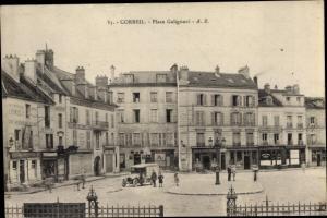 Ak Corbeil Essonne, Place Galignani