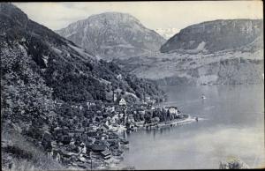 Ak Gersau Kanton Schwyz, Panorama vom Ort mit Frohnalpstock
