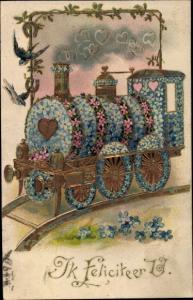 Präge Ak Glückwunsch, Hartelijk Gefeliciteerd, Dampflokomotive aus Vergissmeinnicht, Schwalben