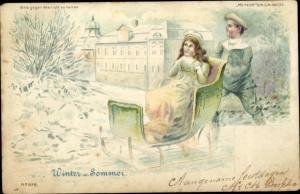 Halt gegen das Licht Litho Winter und Sommer, Schlitten, Kutsche, Meteor