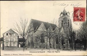 Ak Villeneuve la Guyard Yonne, Place de l'Eglise