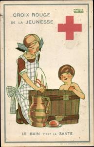 Künstler Ak Salzedo, Maggie, Croix Rouge de la Jeunesse, le Bain c'est la Santé