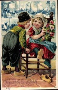 Präge Litho Glückwunsch Geburtstag, Junge und Mädchen in niederländischen Volkstrachten, Blumen