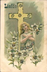 Glitzer Präge Litho Liefde, Allegorie Liebe, Mädchen, Blumen, Kreuz