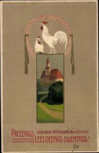 Präge Litho Preezigus Leeldeenas Swehtkus, Huhn, Hahn, Kirche