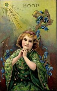 Präge Litho Allegorie, Hoffnung, Hoop, Betendes Mädchen, Anker, Vergissmeinnicht