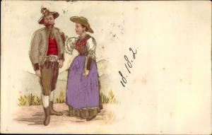 Stoff Litho Mann und Frau in Trachten, Lederhose, Dirndl