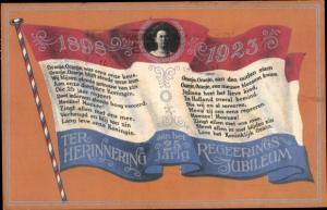 Ak Königin Wilhelmina der Niederlande, 25. Regierungsjubiläum 1923, Flagge
