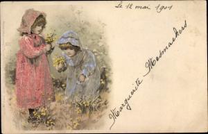 Künstler Litho Mädchen pflücken Blumen