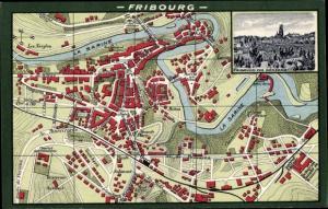Ak Fribourg Freiburg Stadt Schweiz, Landkarte, Vue Generale