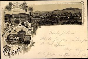Litho Goslar am Harz, Panorama vom Ort, Kaiserhaus, Paul's Hotel mit Turm
