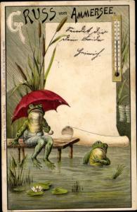 Litho Gruß vom Ammersee, Frösche, Thermometer, Seerosen