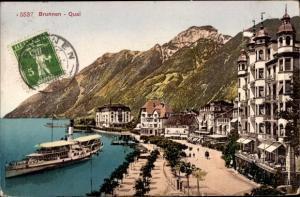 Ak Brunnen Schwyz Schweiz, Kai, Salondämpfer